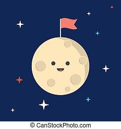 luna, con, uno, flag., spazio, fondo