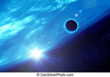 luna, contra, tierra, en, espacio