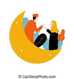 luna, creciente, hombres, mubarak, niña, eid, sacudida, mano