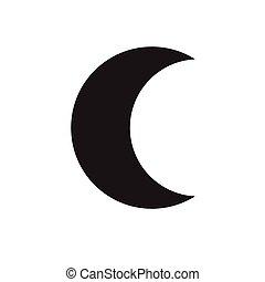 luna, creciente, icono