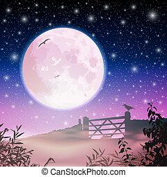 luna, e, cielo notte