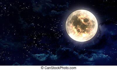 luna, en, el, cielo de la noche