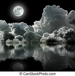luna, en, negro, tempestuoso, nubes