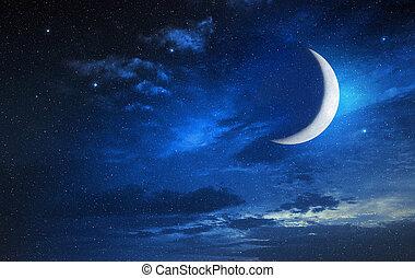 luna, en, un, estrellado, y, cielo nublado