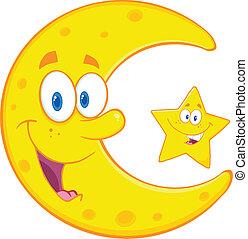 luna, estrella, creciente, feliz