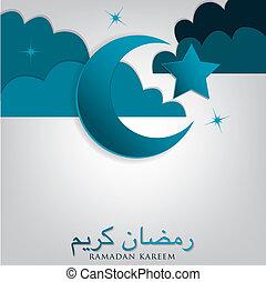 "luna, format., kareem"", ""ramadan, vector, nube, estrellas, (..."