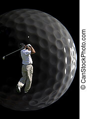 Shot of a man playing golf just after hitting the ball.