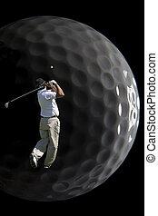 Luna Golf 8025. - Shot of a man playing golf just after ...