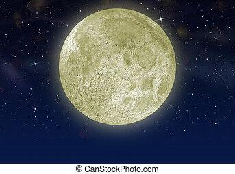 luna, in, il, stella, cielo