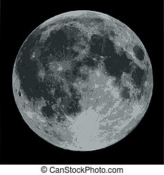 luna llena, contra, un, cielo negro