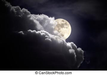 luna llena, nublado, noche
