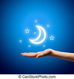 luna, manos