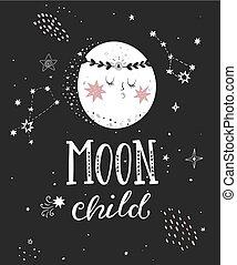 luna, niño, cartel, con, lleno, moon.