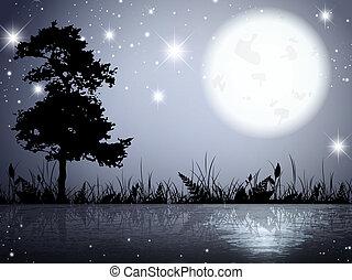 luna, noche, lago