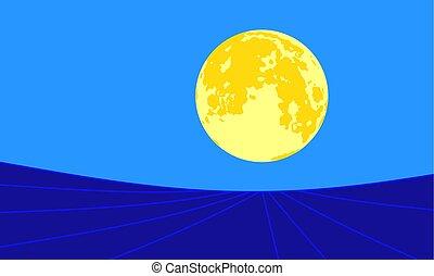 luna, noche, paisaje