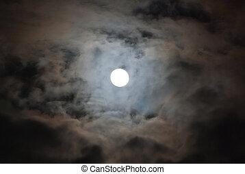 luna, nuvoloso, notte