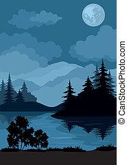 luna, paesaggio, albero, montagne
