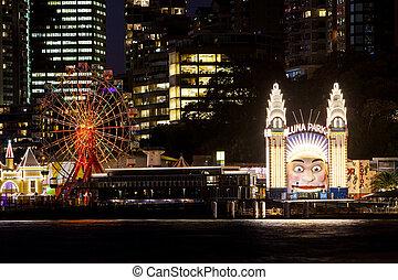 Luna Park on a clear autumn evening in Sydney, Australia