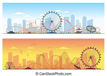 Luna park concept. Amusing entertainment amusement colored...