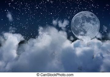 luna piena, e, nubi