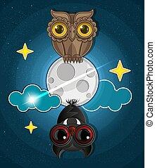 luna piena, halloween, terribile, gufo, pipistrelli, fondo, grungy
