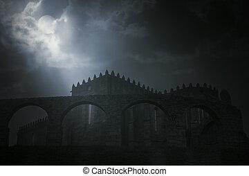 luna piena, medievale, abbazia, notte