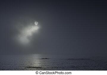 luna piena, notte, a, il, mare