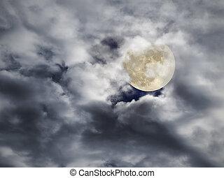 luna piena, nuvoloso, notte