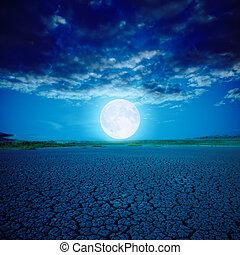 luna piena, sopra, deserto, in, notte