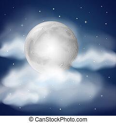 luna, por la noche, con, nubes