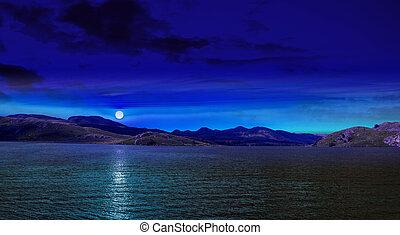 luna, riflesso, su, il, acqua