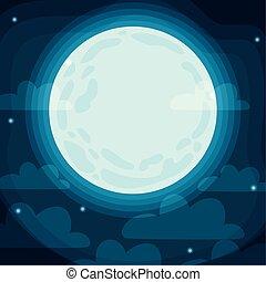 luna, scena halloween, pieno, nuvola