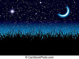 luna, spazio, erba