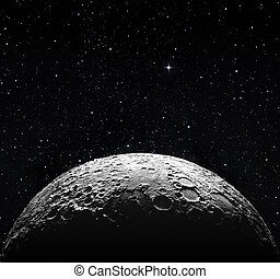 luna, spazio, mezzo, superficie, stellato