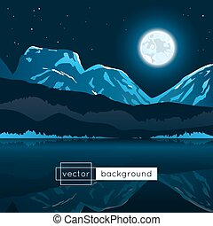 luna, stars., lago, paesaggio, montagne