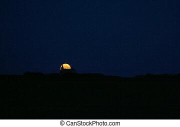 luna, su, orizzonte