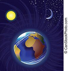 luna, tierra, y, sol