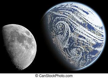 luna, y, tierra, 2