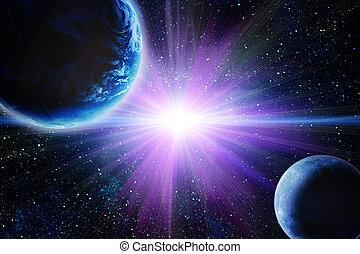 luna, y, tierra, en, espacio