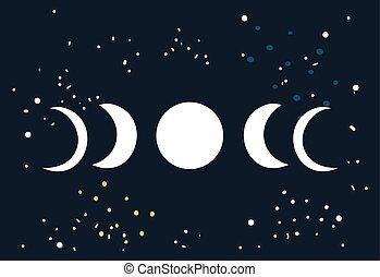 lunaire, lune, éclipse, cercle, phases