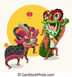 lunaire, nouveau, chinois, danse, lion, année