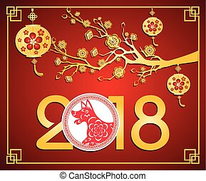 lunaire, nouvel an, chinois, heureux, 2018, year., dog.