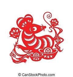 lunar, ano, chinês, rato