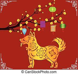 lunar, ano novo, chinês, feliz, 2018, dog.