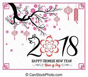lunar, ano novo, chinês, feliz, 2018, year., dog.