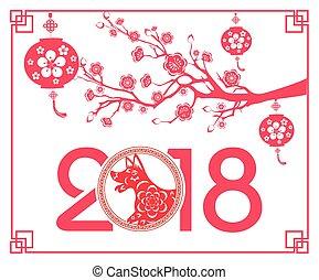 lunar, ano, novo, feliz, year., 2018, chinês, dog.