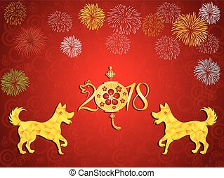 lunar, ano, novo, feliz, year., 2018, chinês, dog.