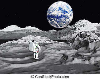 Lunar astronaut views earth rise