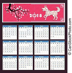 Lunar calendar, Chinese calendar for happy New Year 2018 year of the dog.