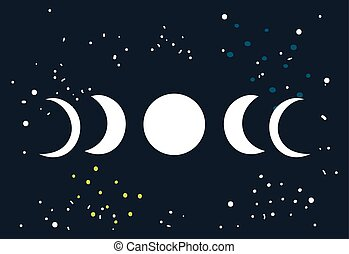 Lunar eclipse Moon phases circle with stars space background...